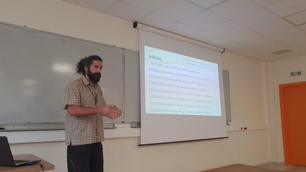 While presenting openess in Astronomy, during the Free and Open Source Software Community Meeting of 2018 in Heraklion, Greece.