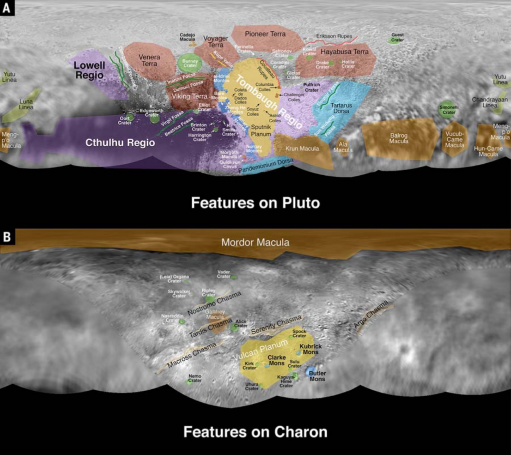 Maps of Pluto (A) and Charon (B) with informal feature names (see Fig. 2 and text in Stern et al. 2015, for more details).