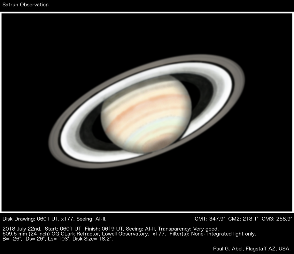 "A drawing of Saturn using the 24"" Clark refractor at Lowell observatory (Paul G. Abel)."