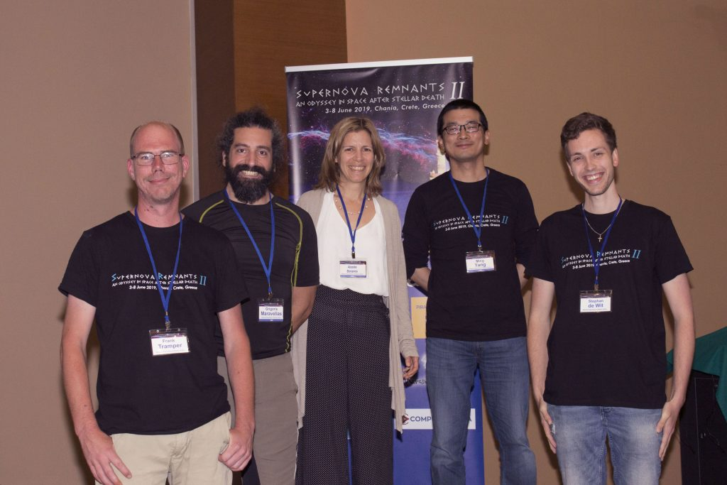 The ASSESS group during the Supernova Remnants II meeting in Chania, Greece. From left: Frank Tramper, Grigoris Maravelias, Alceste Bonanos, Ming Yang, Stephan de Wit  (photo by Dimitra Abartzi).
